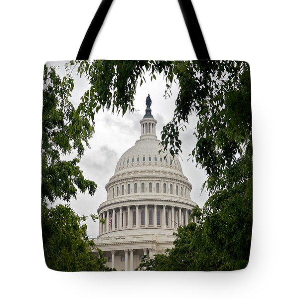 Clouds Over The Capitol Tote Bag by Lawrence Boothby