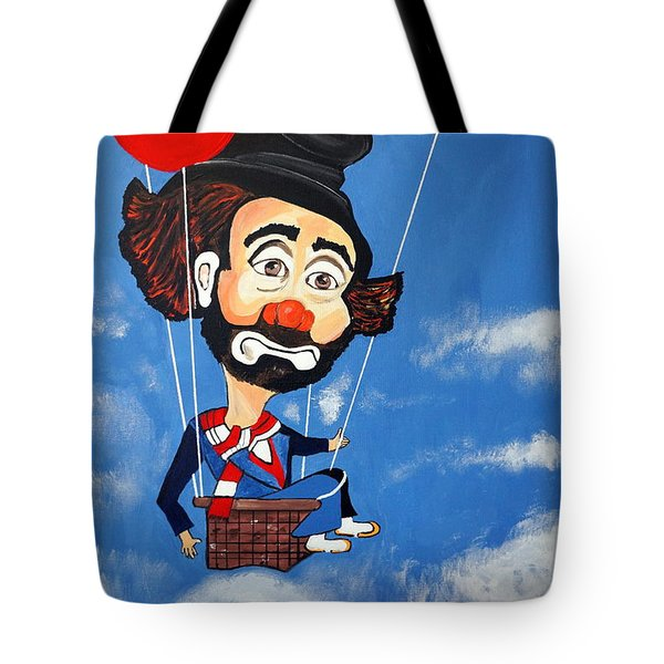 Tote Bag featuring the painting Clown Up Up And Away by Nora Shepley