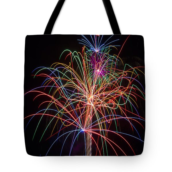 Colorful Fireworks Tote Bag by Garry Gay