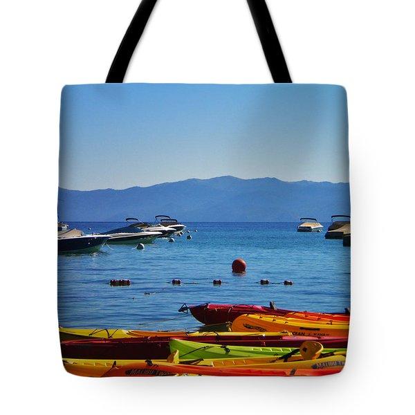 Colorful Kayaks Lake Tahoe Tote Bag