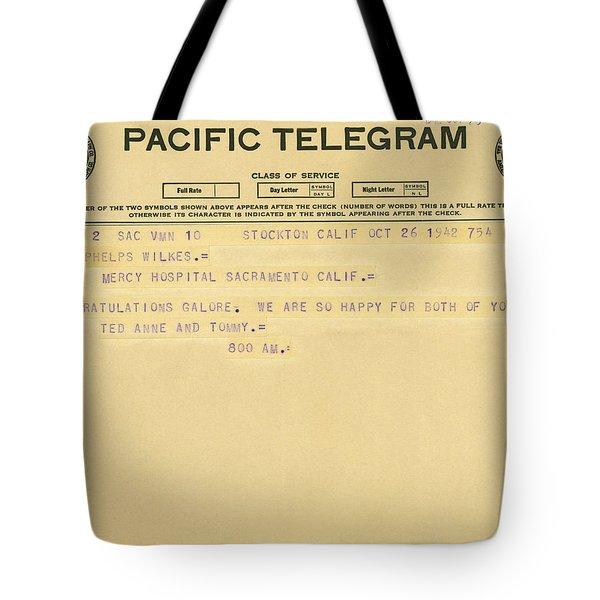 Congratulatory Telegram Tote Bag by Underwood Archives