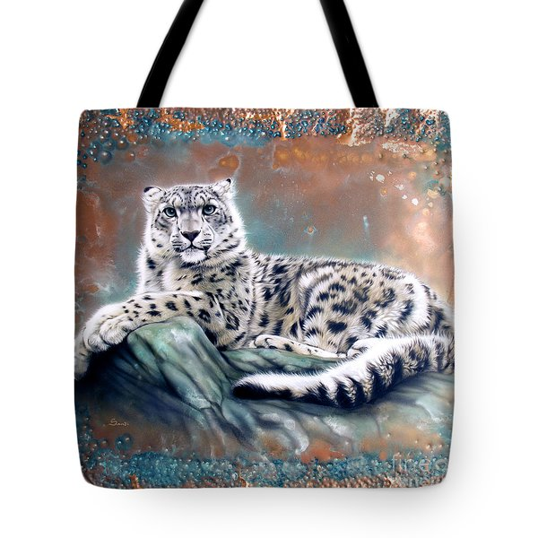 Copper Snow Leopard Tote Bag