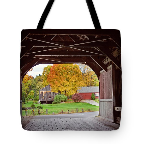 Covered Bridge In Autumn Tote Bag
