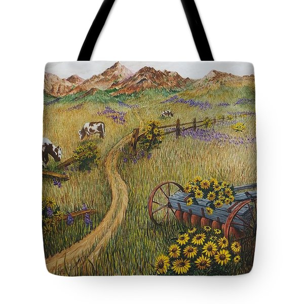 Cows Grazing Tote Bag by Katherine Young-Beck
