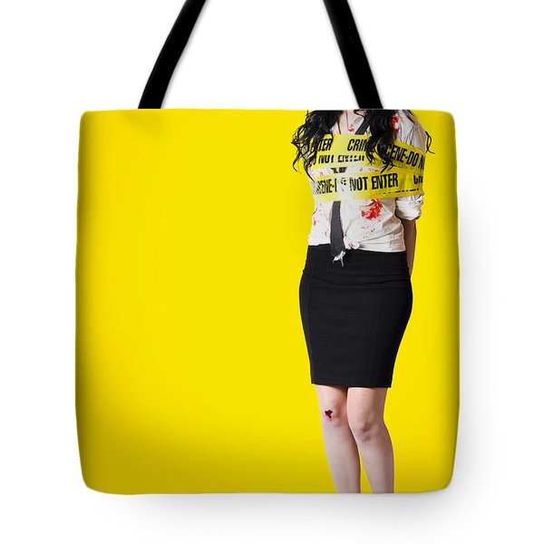 Creepy Homicide Girl Standing Undead On Yellow Tote Bag