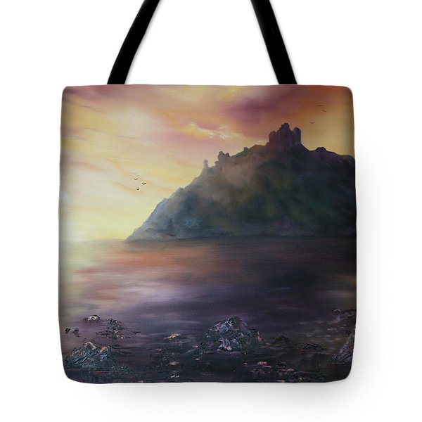 Tote Bag featuring the painting Criccieth Castle North Wales by Jean Walker