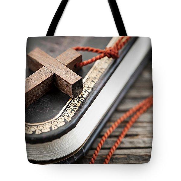 Cross On Bible Tote Bag by Elena Elisseeva