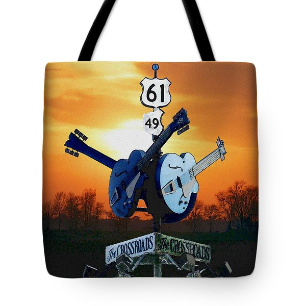 Crossroads Sunset  Blues Highway 61 Tote Bag
