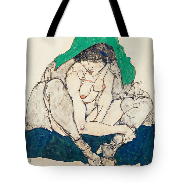 Crouching Woman With Green Headscarf Tote Bag
