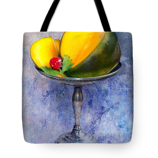Cut Mango On Sterling Silver Dish Tote Bag