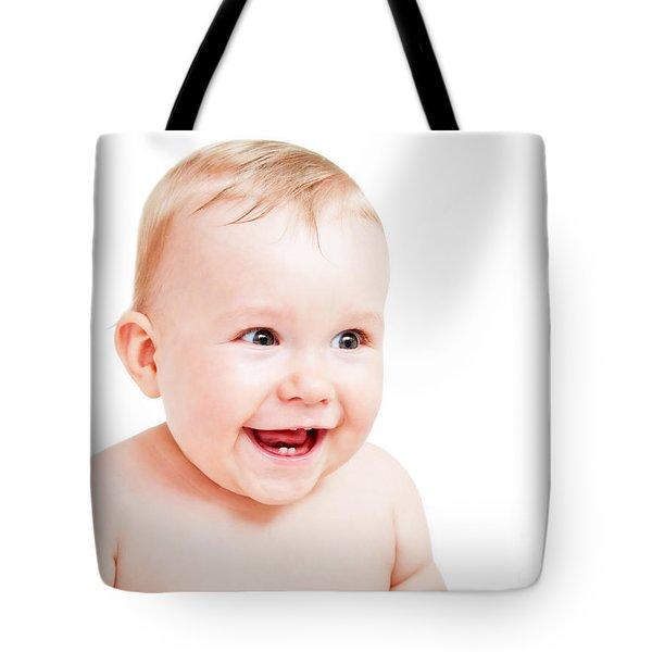 Cute Happy Baby Laughing On White Tote Bag by Michal Bednarek