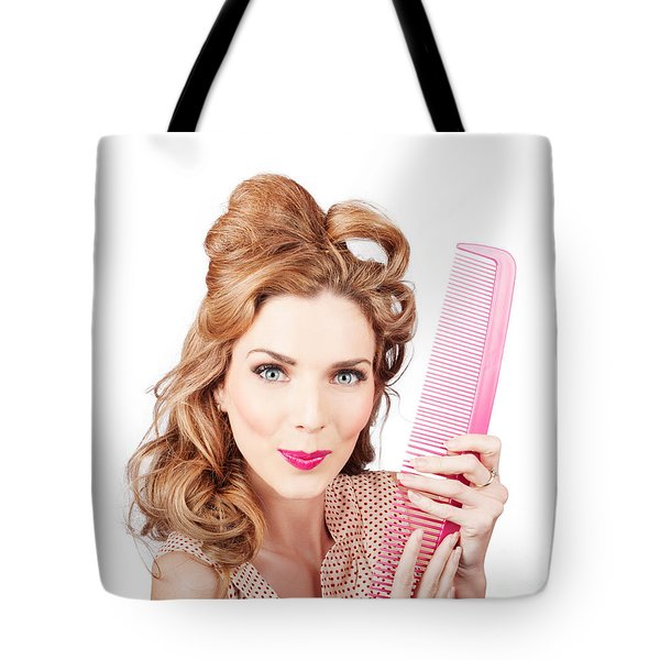Cute Retro Female Hairdresser With Big Hair Comb Tote Bag