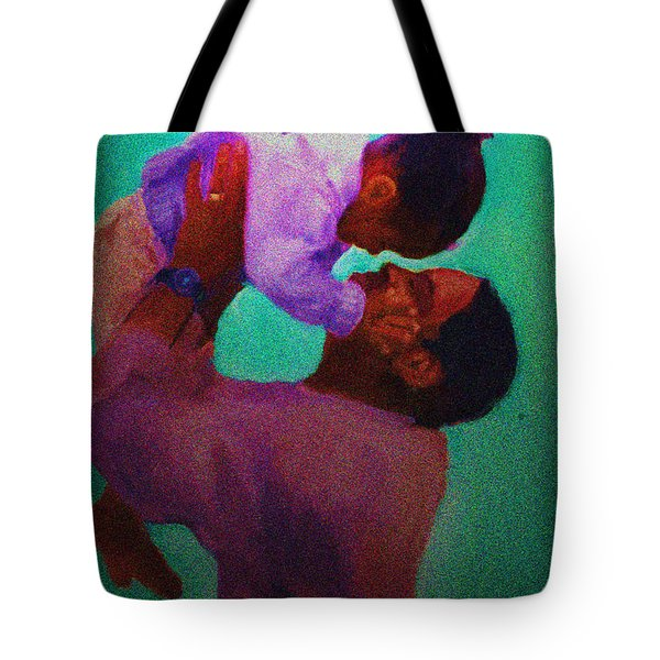 Tote Bag featuring the painting Daddys' Little Girl by Vannetta Ferguson