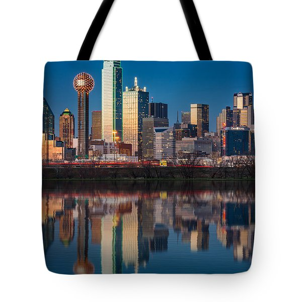 Dallas Skyline Tote Bag by Mihai Andritoiu