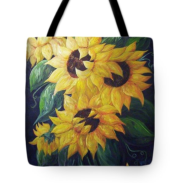 Tote Bag featuring the painting Dancing Sunflowers  by Eloise Schneider