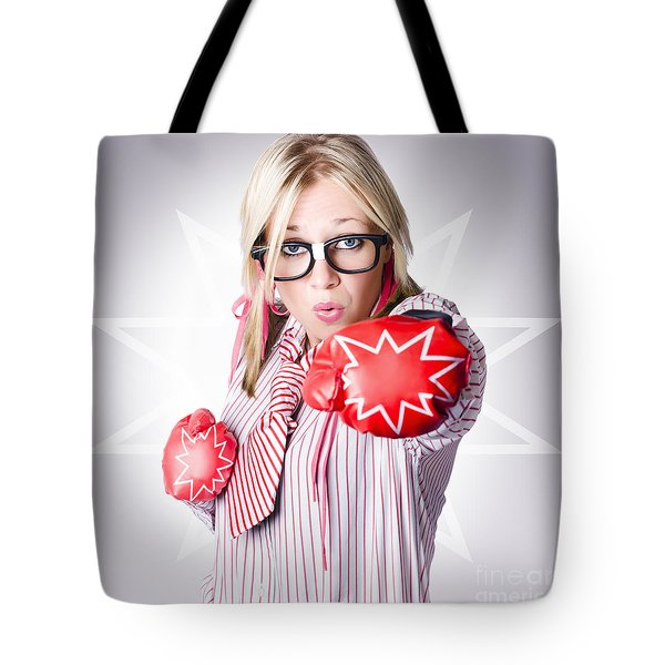 Dangerous Female Worker Punching With Great Force Tote Bag