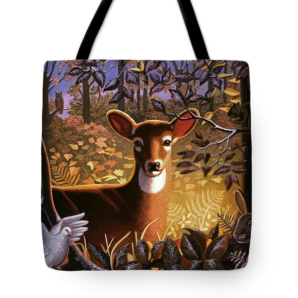 Tote Bag featuring the painting Deer In The Forest by Robin Moline
