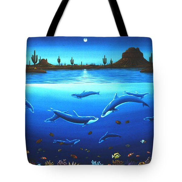 Desert Dolphins Tote Bag by Lance Headlee