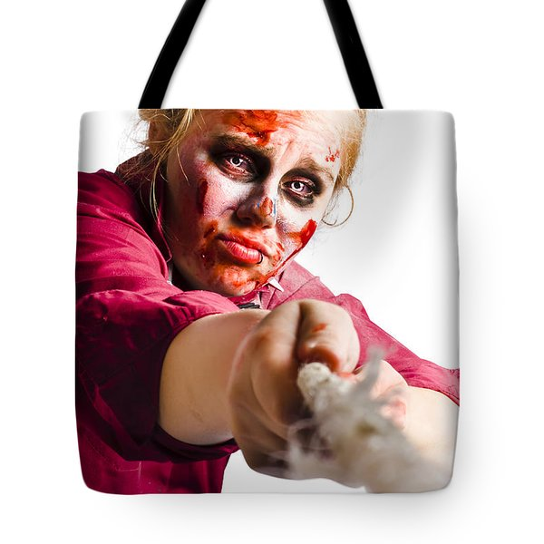 Determined Woman With Rope Tote Bag