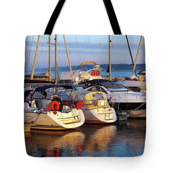 Docked Yachts Tote Bag by Carlos Caetano