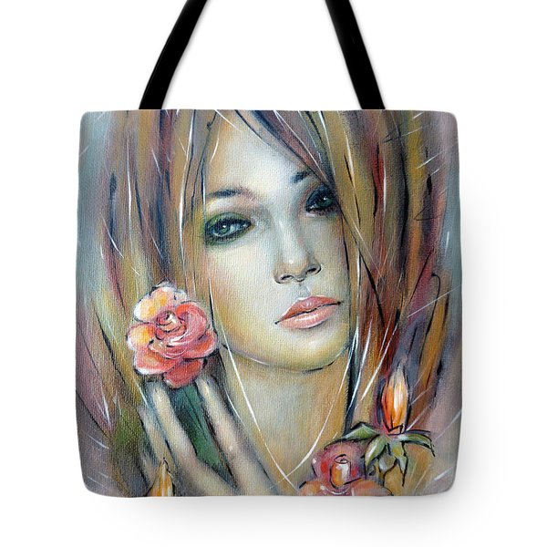 Doll With Roses 010111 Tote Bag by Selena Boron