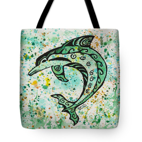 Tote Bag featuring the painting Dolphin 2 by Darice Machel McGuire