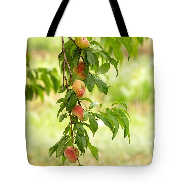 Donut Peaches Tote Bag by Iris Richardson