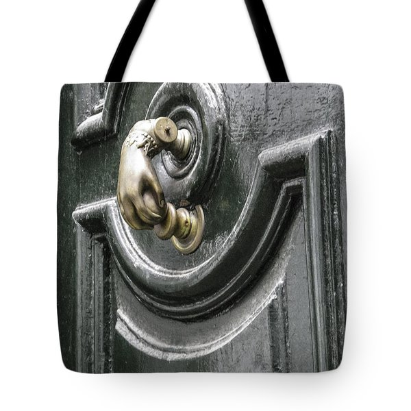 Tote Bag featuring the photograph Door Knocker by Arlene Carmel