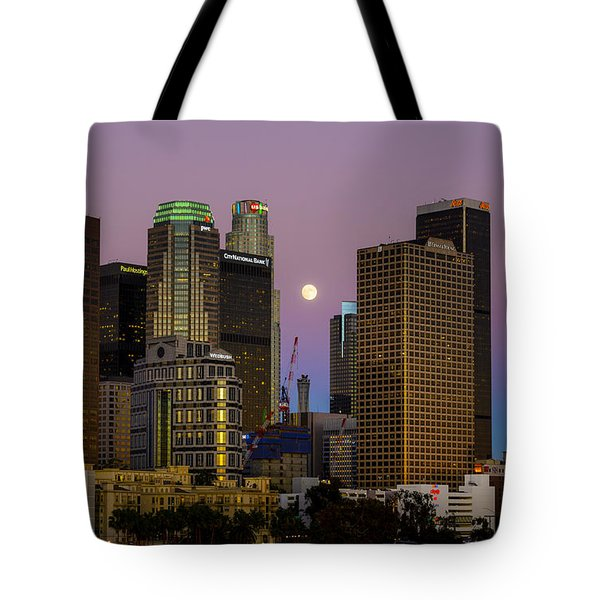 Downtown Los Angeles Moonrise Tote Bag