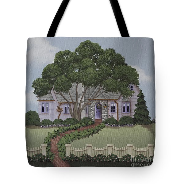 Dragonfly Cottage Tote Bag by Catherine Holman