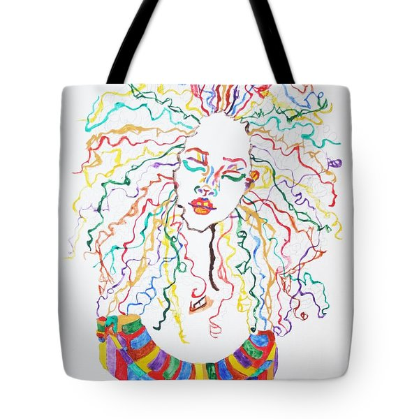 Tote Bag featuring the painting Dreadlocks Piano Goddess by Stormm Bradshaw