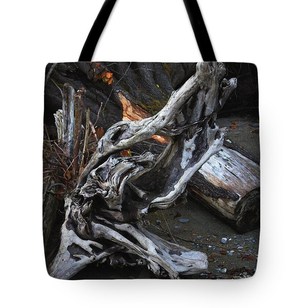 Driftwood On The Beach Tote Bag by Tom Janca