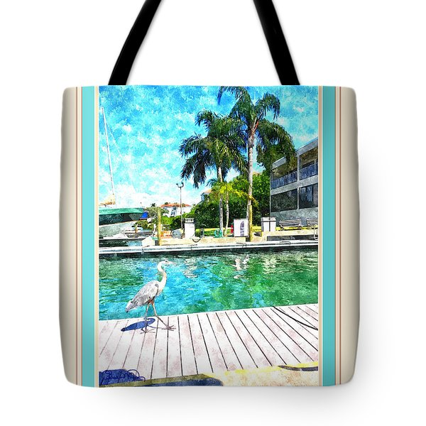 Dry Dock Bird Walk - Digitally Framed Tote Bag by Susan Molnar