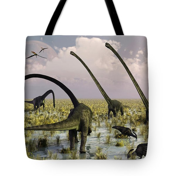 Duckbill Dinosaurs And Large Sauropods Tote Bag by Mark Stevenson