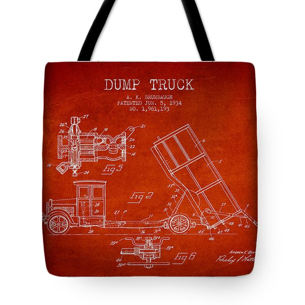 Dump Truck Patent Drawing From 1934 Tote Bag