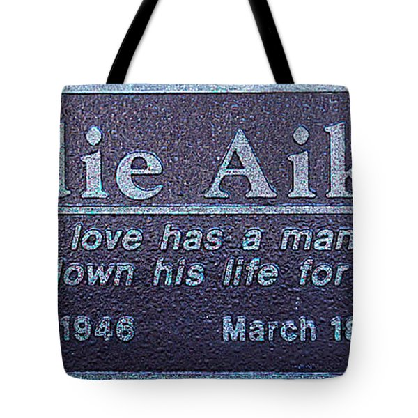 Tote Bag featuring the photograph Eddie Aikau Plaque by Leigh Anne Meeks