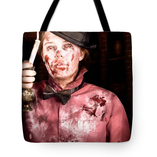 Eerie Monster Drifting In Lost Halls Of Darkness Tote Bag