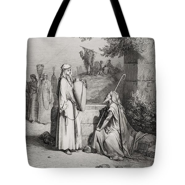 Eliezer And Rebekah Tote Bag by Gustave Dore