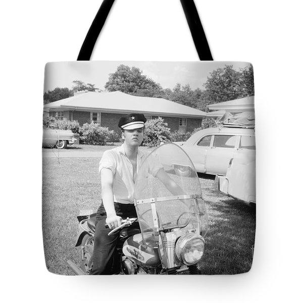 Elvis Presley Sitting On His 1956 Harley Kh Tote Bag