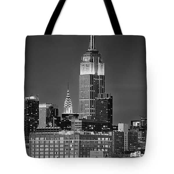 Empire And Chrysler Buildings Tote Bag by Jerry Fornarotto