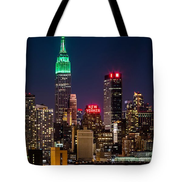 Tote Bag featuring the photograph Empire State Building On Saint Patrick's Day by Mihai Andritoiu