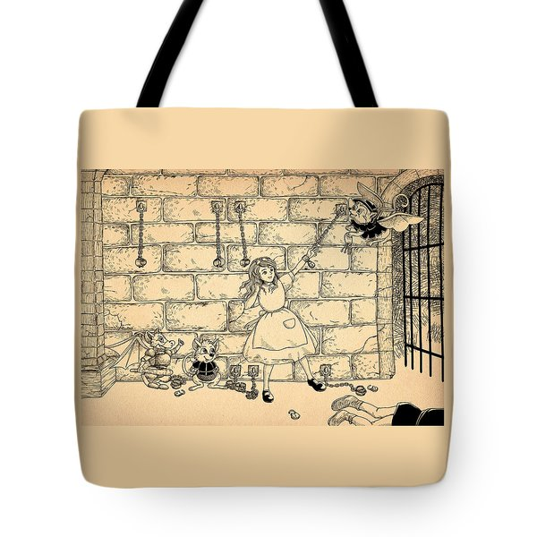 Tote Bag featuring the drawing Escape by Reynold Jay