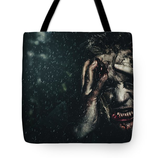 Evil Zombie Man In Fear At Dark Haunted Forest Tote Bag