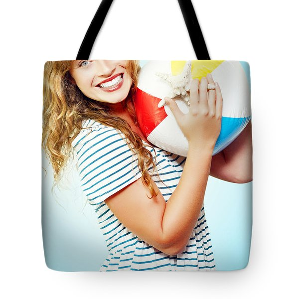 Excited Woman On A Fun Tropical Vacation Tote Bag