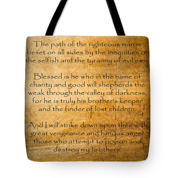 Ezekial 25 17 Tote Bag by Roz Abellera Art