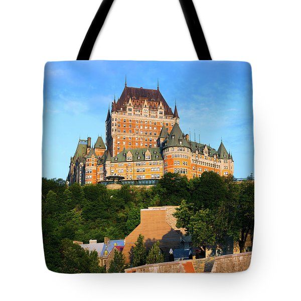 Facade Of Chateau Frontenac In Lower Tote Bag