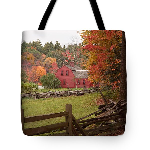 Fall Foliage Over A Red Wooden Home At Sturbridge Village Tote Bag by Jeff Folger
