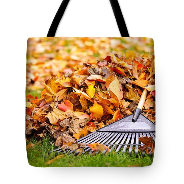 Fall Leaves With Rake Tote Bag