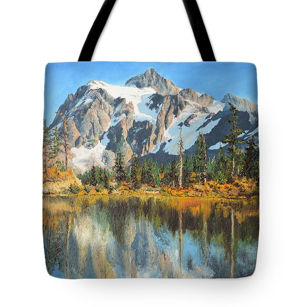 Tote Bag featuring the painting Fall Reflections - Cascade Mountains by Mary Ellen Anderson