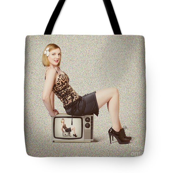 Female Television Show Actress On Old Tv Set Tote Bag by Jorgo Photography - Wall Art Gallery